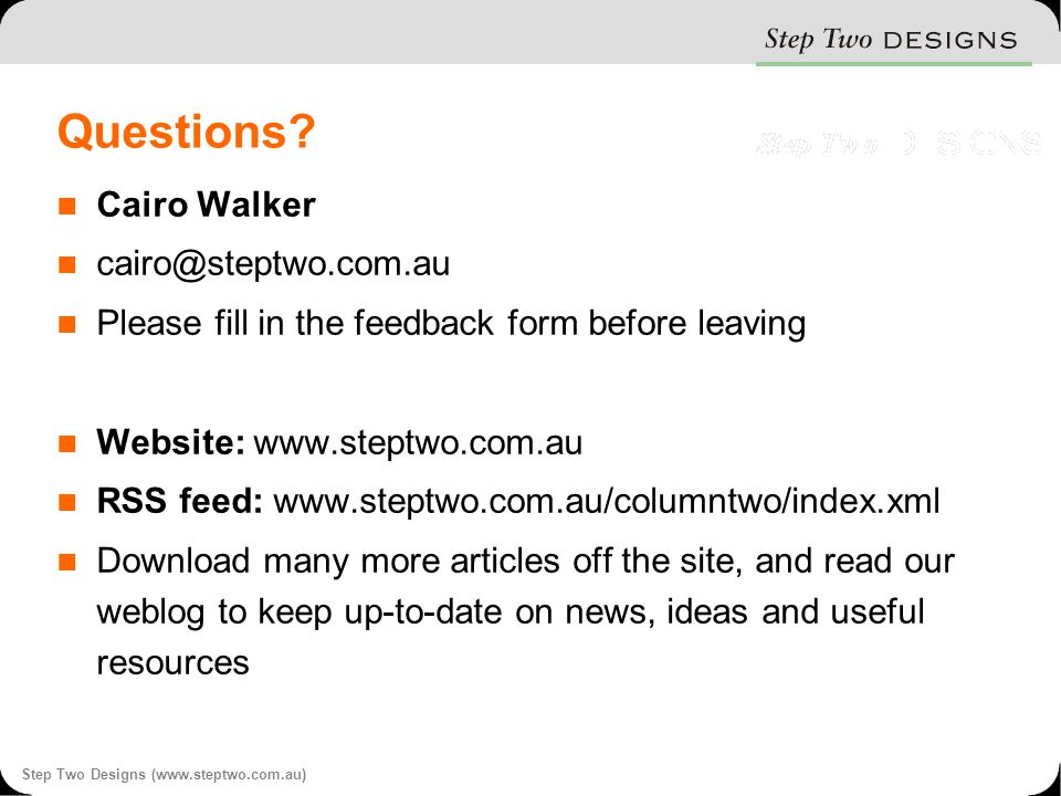 Step Two Designs (www.steptwo.com.au) Questions.