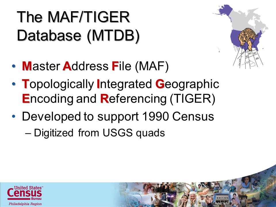 The MAF/TIGER Database (MTDB) MAFMaster Address File (MAF) TIG ERTopologically Integrated Geographic Encoding and Referencing (TIGER) Developed to sup