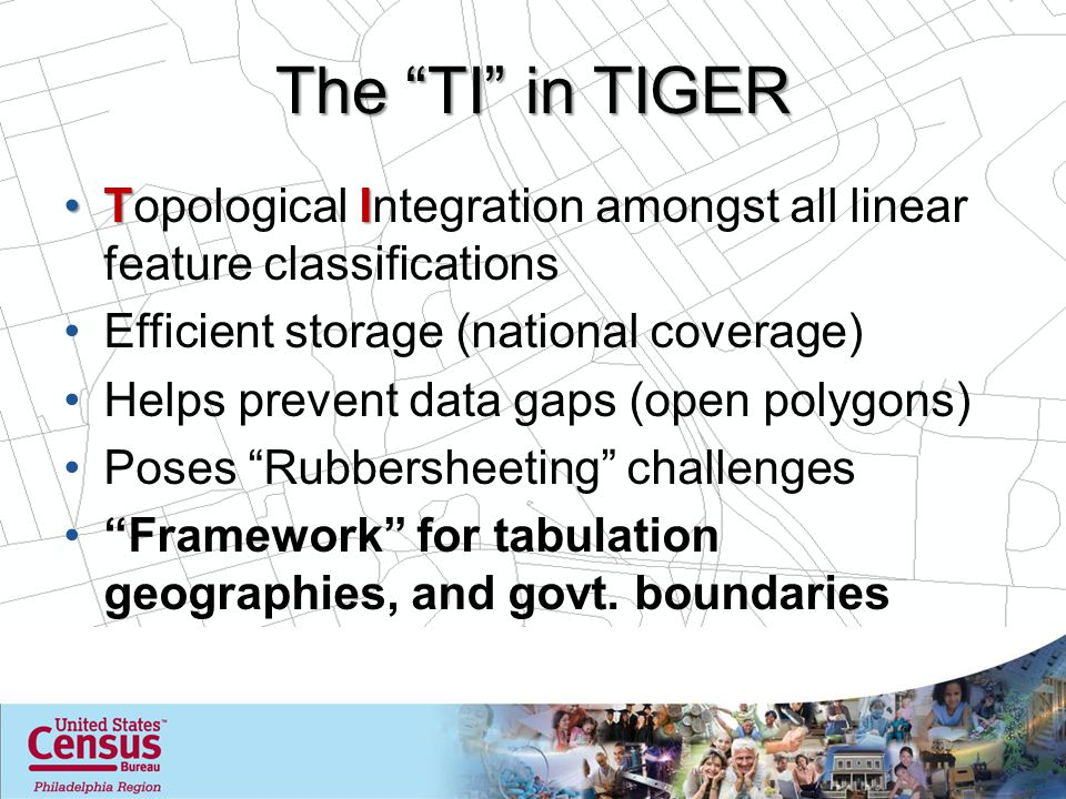 The TI in TIGER TITopological Integration amongst all linear feature classifications Efficient storage (national coverage) Helps prevent data gaps (open polygons) Poses Rubbersheeting challenges Framework for tabulation geographies, and govt.