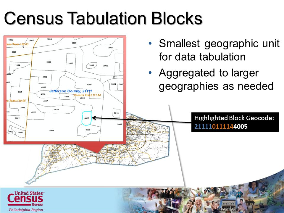 Census Tabulation Blocks Smallest geographic unit for data tabulation Aggregated to larger geographies as needed Highlighted Block Geocode: 2111101111