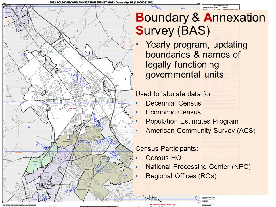 Boundary & Annexation Survey (BAS) Yearly program, updating boundaries & names of legally functioning governmental units Used to tabulate data for: De