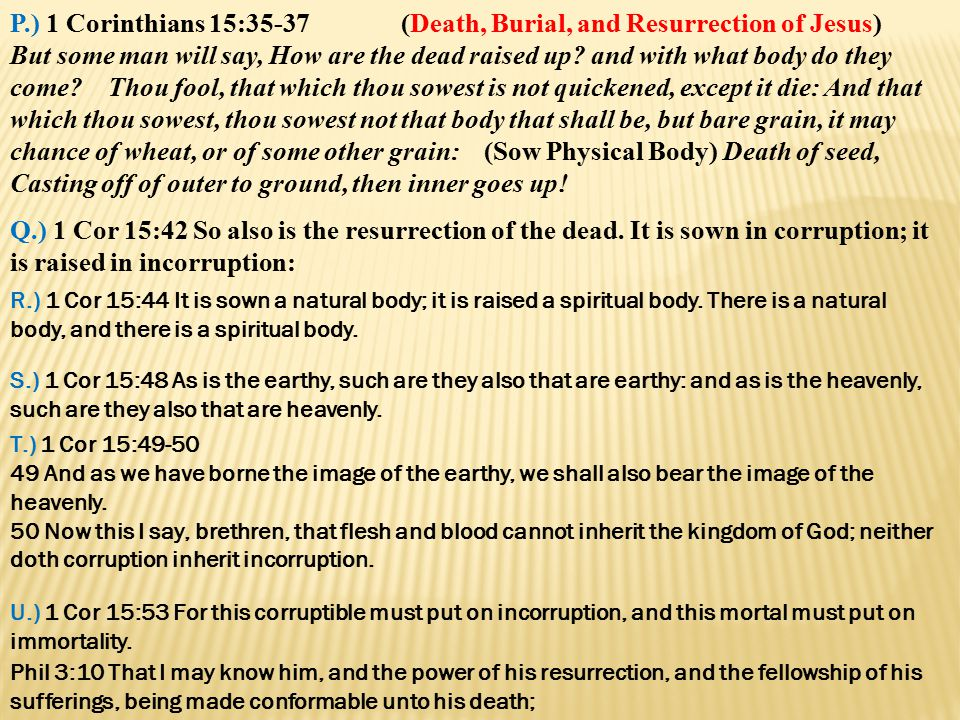 P.) 1 Corinthians 15:35-37 (Death, Burial, and Resurrection of Jesus) But some man will say, How are the dead raised up? and with what body do they co