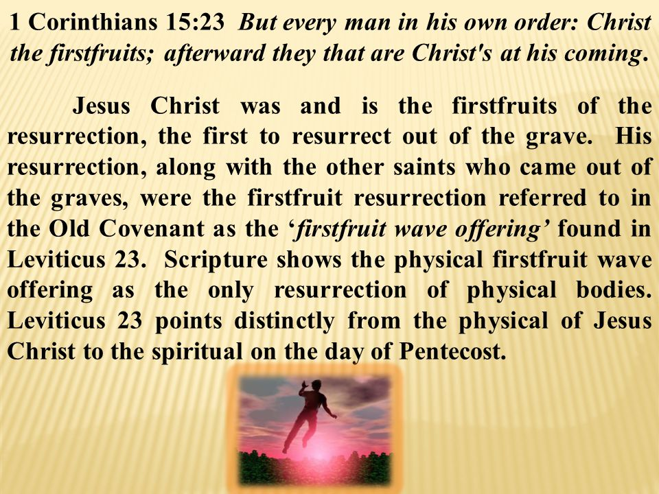 1 Corinthians 15:23 But every man in his own order: Christ the firstfruits; afterward they that are Christ s at his coming.