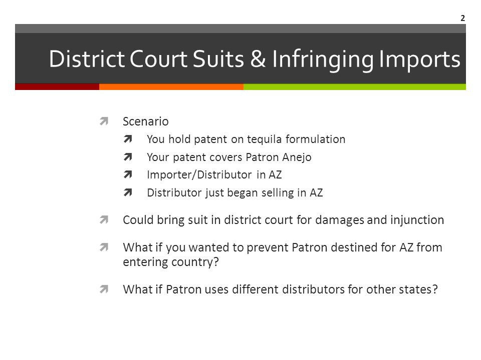 District Court Suits & Infringing Imports  Scenario  You hold patent on tequila formulation  Your patent covers Patron Anejo  Importer/Distributor in AZ  Distributor just began selling in AZ  Could bring suit in district court for damages and injunction  What if you wanted to prevent Patron destined for AZ from entering country.
