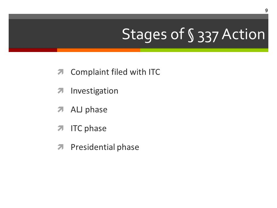 Stages of § 337 Action  Complaint filed with ITC  Investigation  ALJ phase  ITC phase  Presidential phase 9