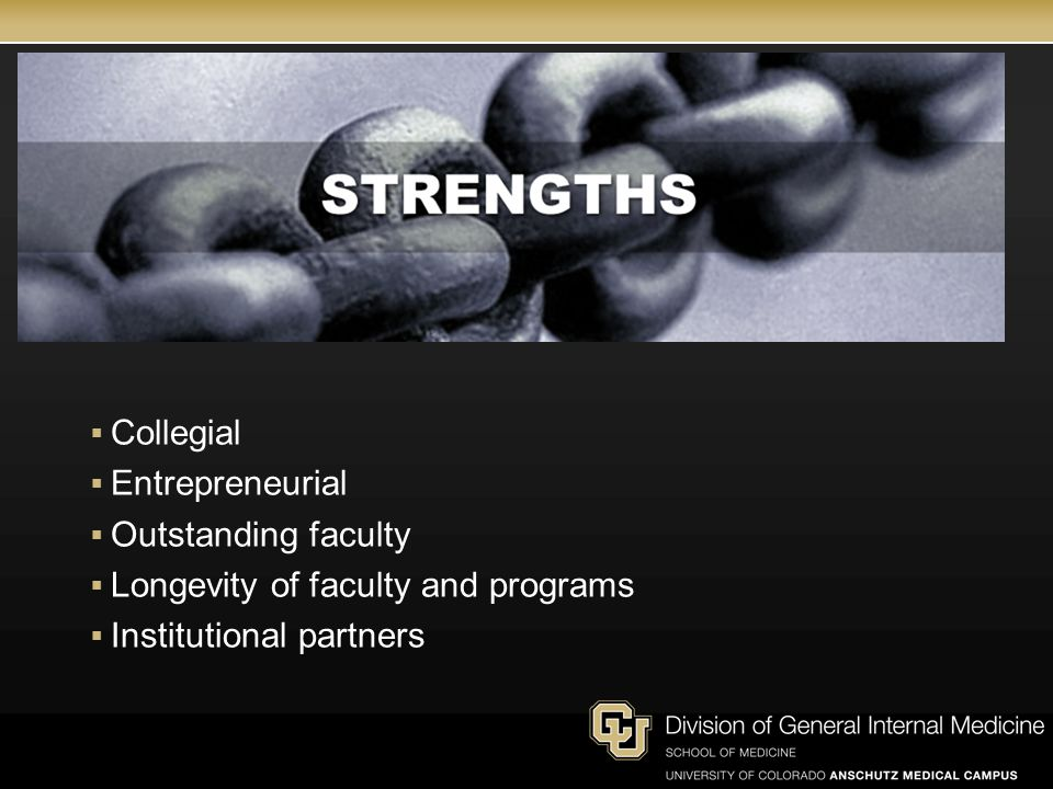  Collegial  Entrepreneurial  Outstanding faculty  Longevity of faculty and programs  Institutional partners
