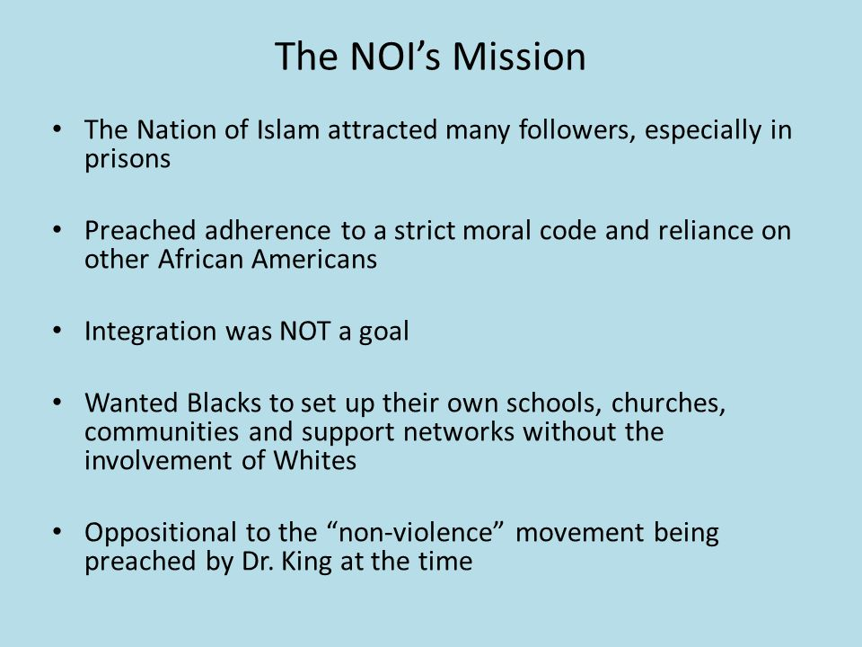 Malcolm X and the NOI Malcolm X vs.Dr.