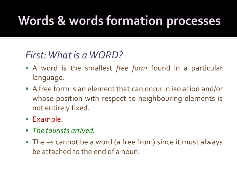 First: What is a WORD.  A word is the smallest free form found in a particular language.