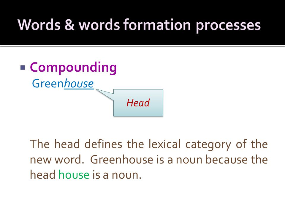  Compounding Greenhouse The head defines the lexical category of the new word.