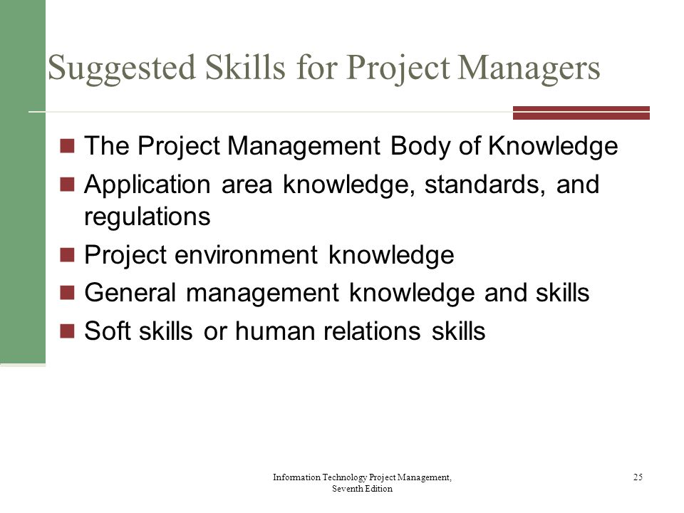 Ten Most Important Skills and Competencies for Project Managers Information Technology Project Management, Seventh Edition 26 1.