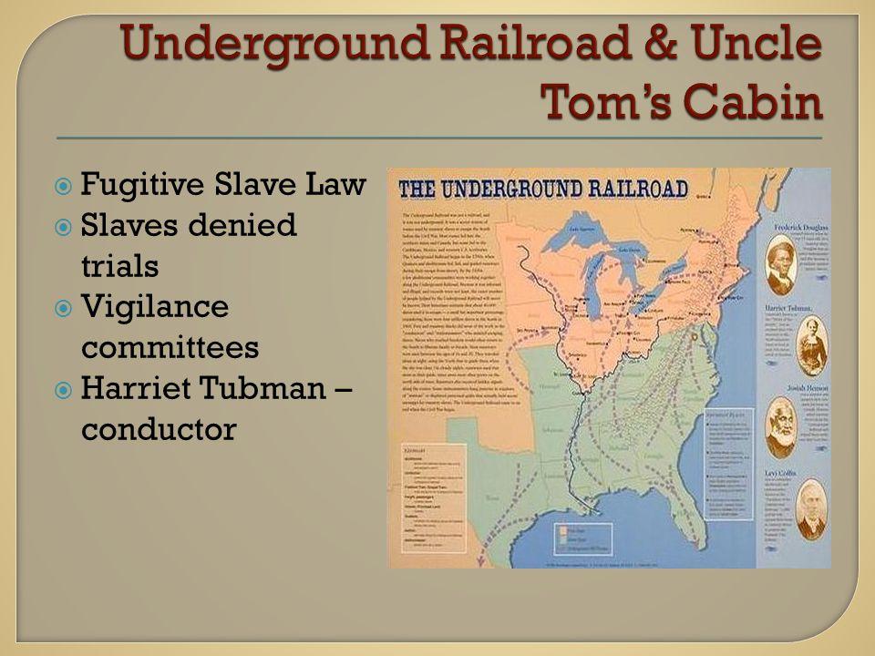  Fugitive Slave Law  Slaves denied trials  Vigilance committees  Harriet Tubman – conductor