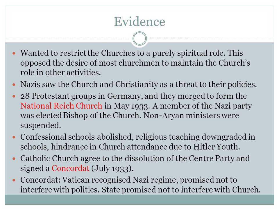 Evidence Wanted to restrict the Churches to a purely spiritual role. This opposed the desire of most churchmen to maintain the Church's role in other