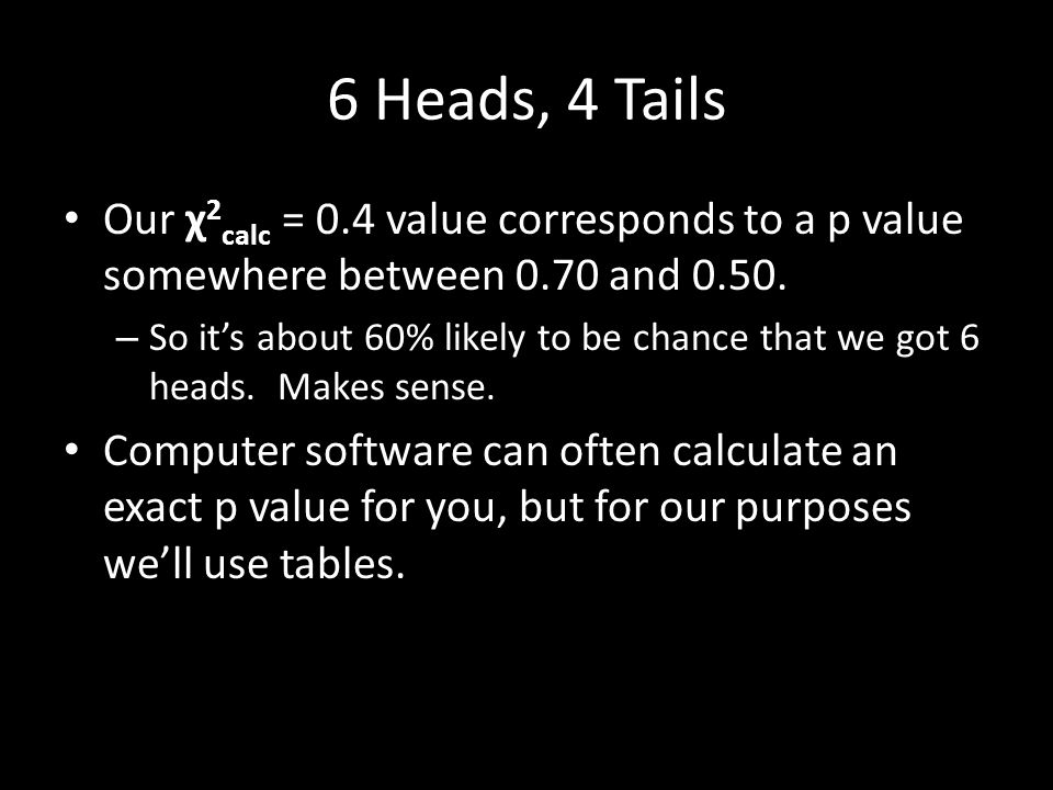 6 Heads, 4 Tails Our χ 2 calc = 0.4 value corresponds to a p value somewhere between 0.70 and 0.50.