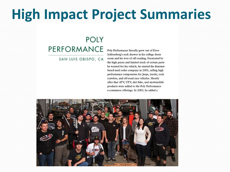 High Impact Project Summaries