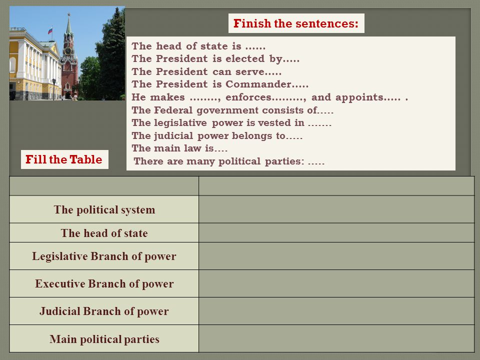 The political system The head of state Legislative Branch of power Executive Branch of power Judicial Branch of power Main political parties The Russian Federation The political system democratic federative state The head of state president Legislative Branch of power Federal Assembly Executive Branch of power Government, President, Prime Ministers Judicial Branch of power Constitutional court, the Supreme Court and regional courts.
