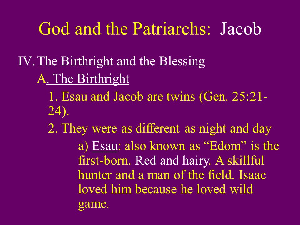 God and the Patriarchs: Jacob IV.The Birthright and the Blessing A.