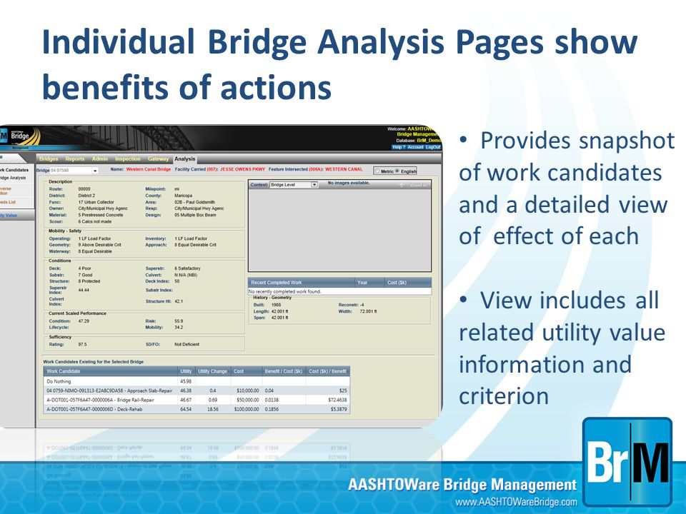 Individual Bridge Analysis Pages show benefits of actions Provides snapshot of work candidates and a detailed view of effect of each View includes all
