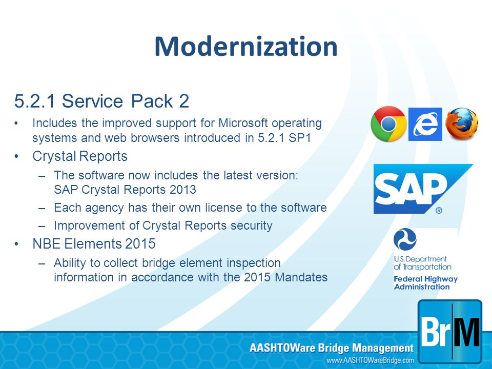 Modernization 5.2.1 Service Pack 2 Includes the improved support for Microsoft operating systems and web browsers introduced in 5.2.1 SP1 Crystal Repo