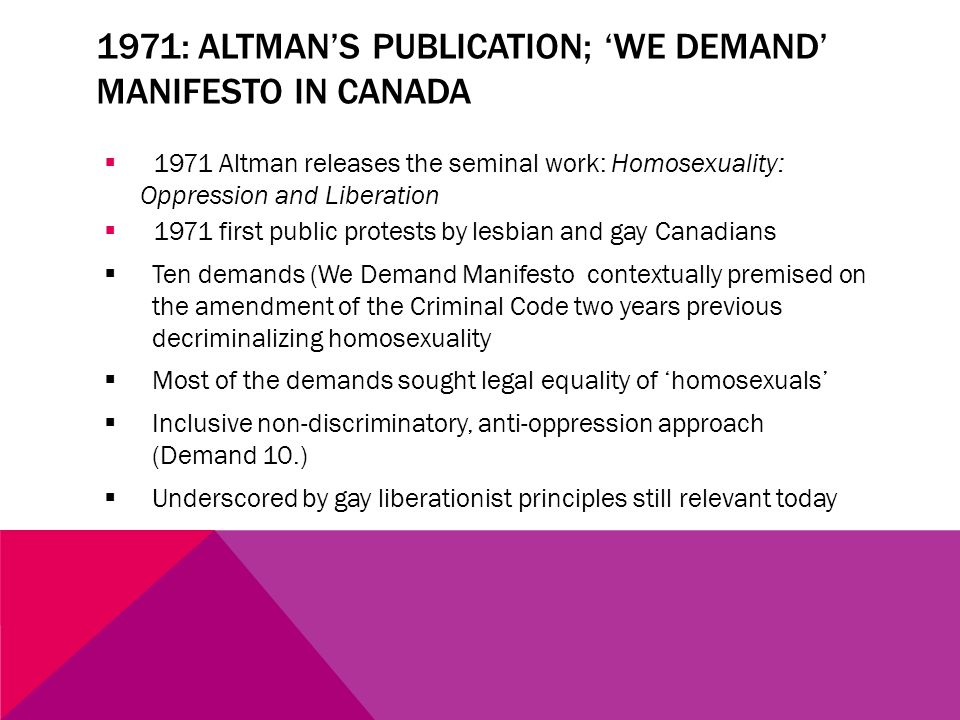 CANADIAN LANDSCAPE: LGBT POLITICS  A few national single-issue political LGBT organizations  Multi-issue national political organization Egale heavily based on rights-claims equality  Few province/terrritory-wide political LGBT organizations  Focus of this paper on past work of CLGRO and current work of Queer Ontario