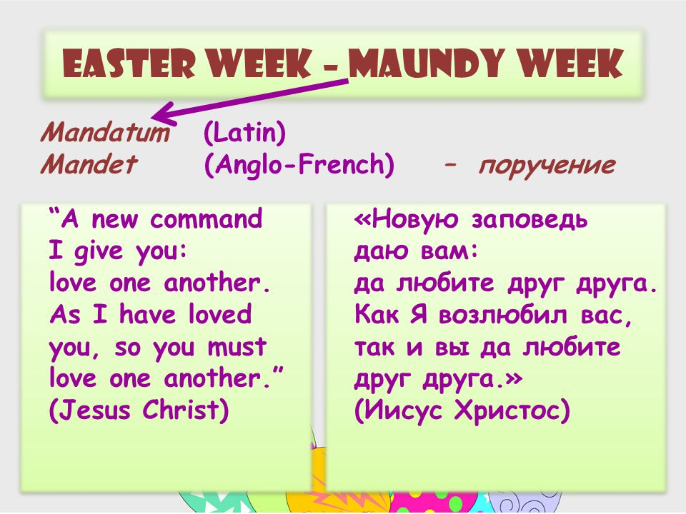 Easter week – maundy week A new command I give you: love one another.