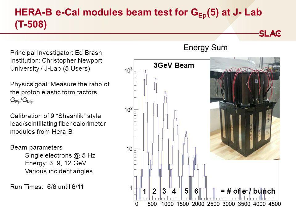 HERA-B e-Cal modules beam test for G Ep (5) at J- Lab (T-508) Principal Investigator: Ed Brash Institution: Christopher Newport University / J-Lab (5