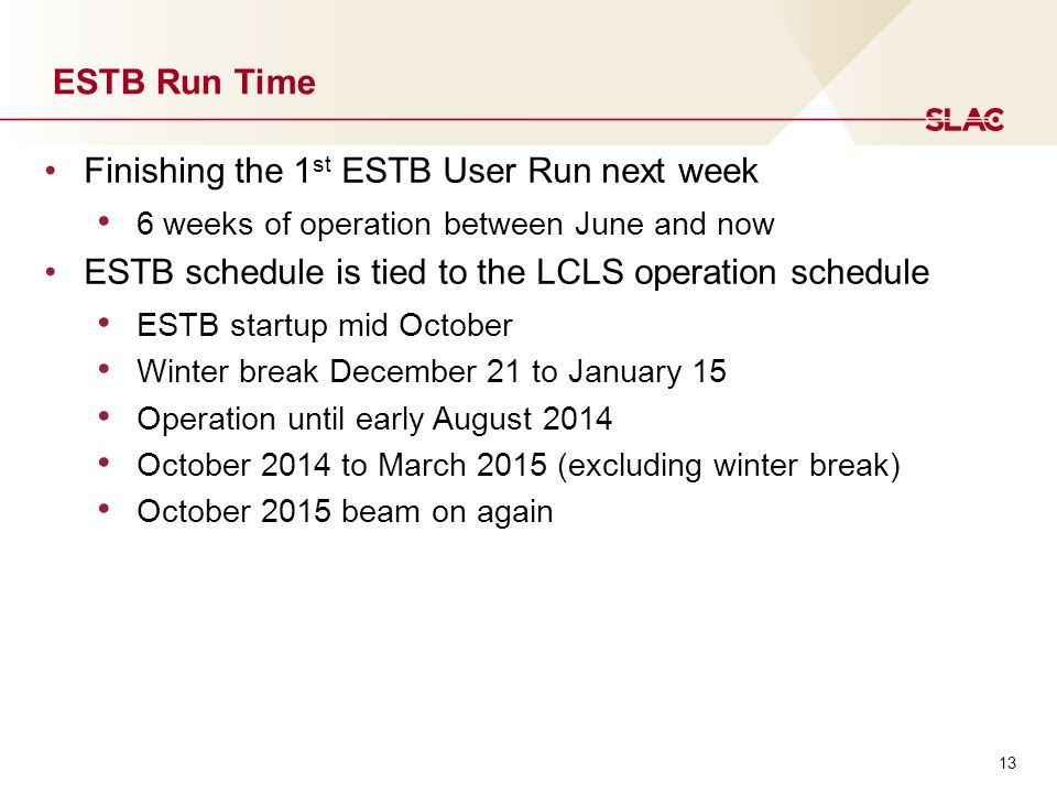 13 ESTB Run Time Finishing the 1 st ESTB User Run next week 6 weeks of operation between June and now ESTB schedule is tied to the LCLS operation schedule ESTB startup mid October Winter break December 21 to January 15 Operation until early August 2014 October 2014 to March 2015 (excluding winter break) October 2015 beam on again