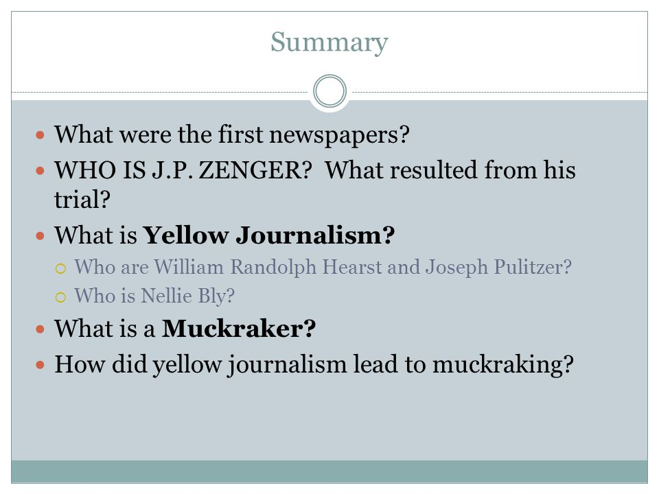 Yellow Journalism eventually led to a movement of reform in the late 19 th century.
