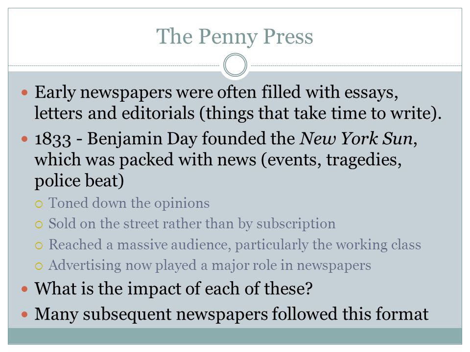 Summary What were the first newspapers.WHO IS J.P.
