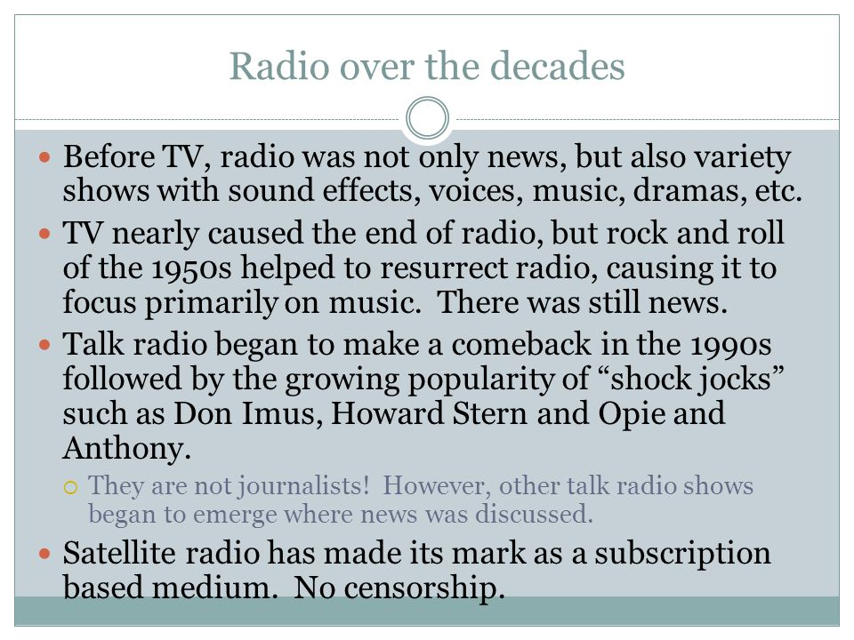 Radio continued First news broadcast occurred in 1916 over a limited area.