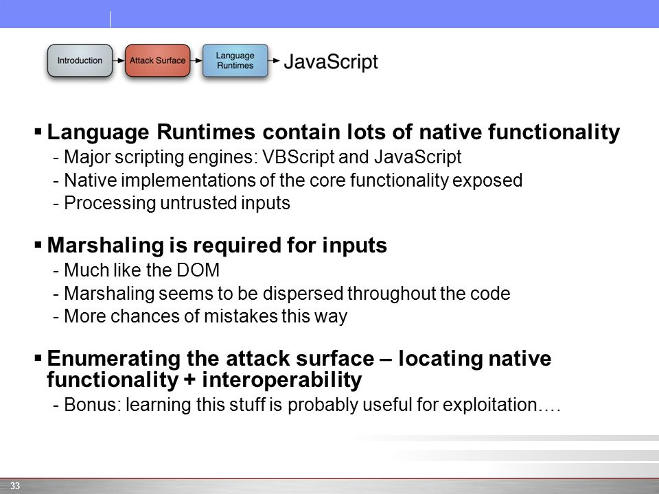  Language Runtimes contain lots of native functionality -Major scripting engines: VBScript and JavaScript -Native implementations of the core functio
