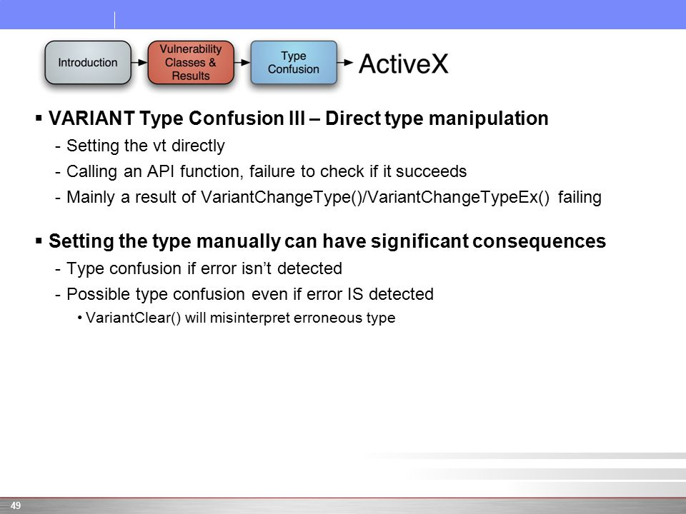  VARIANT Type Confusion III – Direct type manipulation -Setting the vt directly -Calling an API function, failure to check if it succeeds -Mainly a result of VariantChangeType()/VariantChangeTypeEx() failing  Setting the type manually can have significant consequences -Type confusion if error isn't detected -Possible type confusion even if error IS detected VariantClear() will misinterpret erroneous type 49