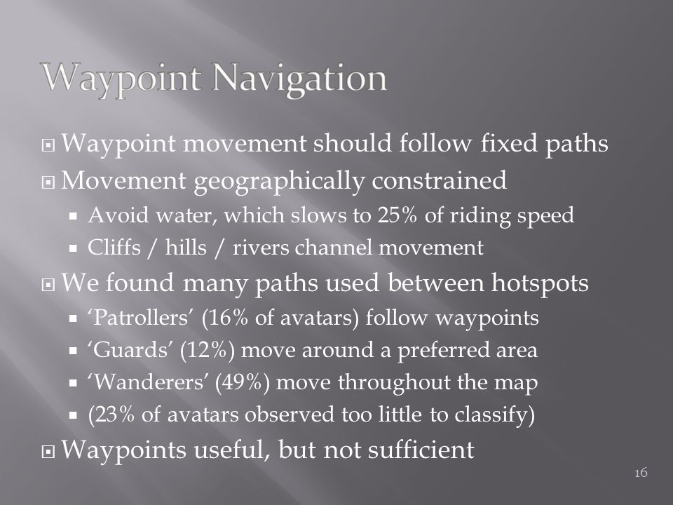  Waypoint movement should follow fixed paths  Movement geographically constrained  Avoid water, which slows to 25% of riding speed  Cliffs / hills / rivers channel movement  We found many paths used between hotspots  'Patrollers' (16% of avatars) follow waypoints  'Guards' (12%) move around a preferred area  'Wanderers' (49%) move throughout the map  (23% of avatars observed too little to classify)  Waypoints useful, but not sufficient 16