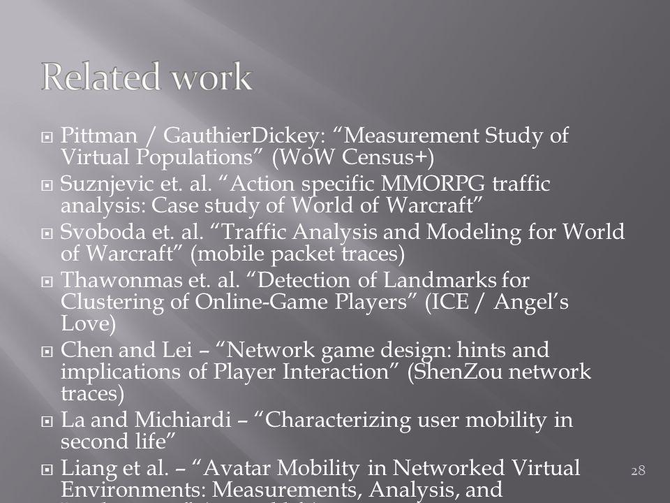  Pittman / GauthierDickey: Measurement Study of Virtual Populations (WoW Census+)  Suznjevic et.