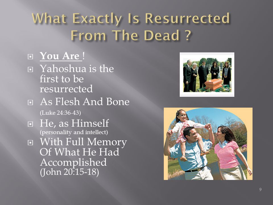  You Are !  Yahoshua is the first to be resurrected  As Flesh And Bone (Luke 24:36-43)  He, as Himself (personality and intellect)  With Full Mem
