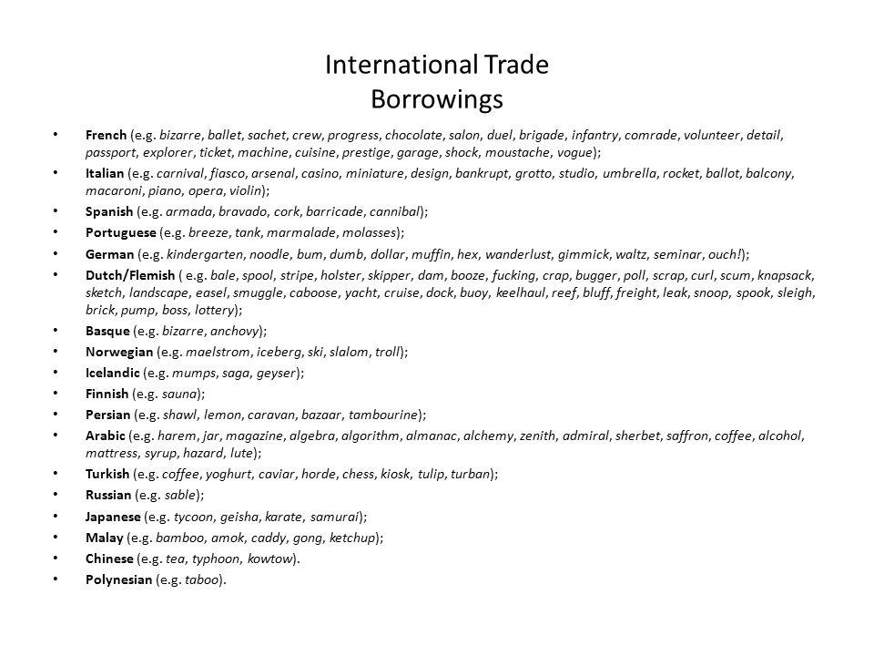 International Trade Borrowings French (e.g.