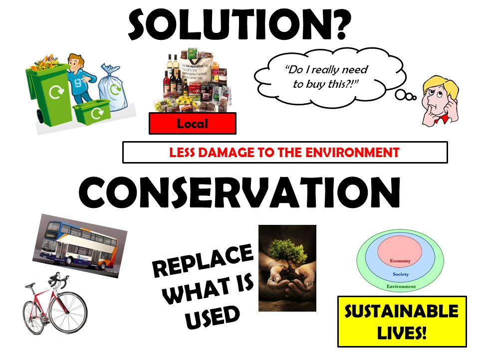 "SOLUTION? ""Do I really need to buy this?!"" LESS DAMAGE TO THE ENVIRONMENT Local CONSERVATION REPLACE WHAT IS USED SUSTAINABLE LIVES!"