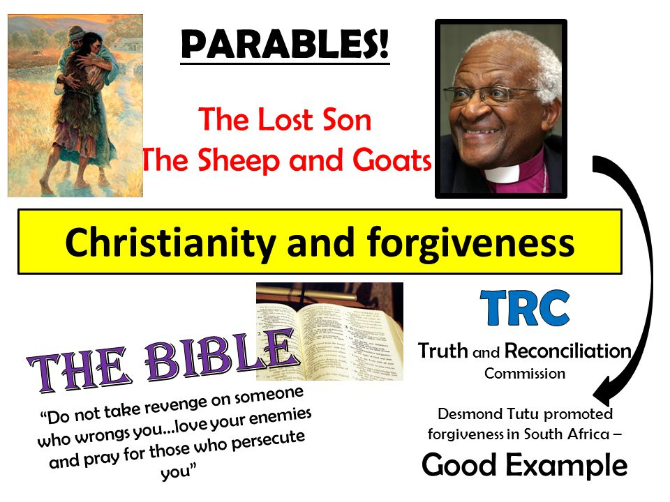 Christianity and forgiveness PARABLES! The Lost Son The Sheep and Goats