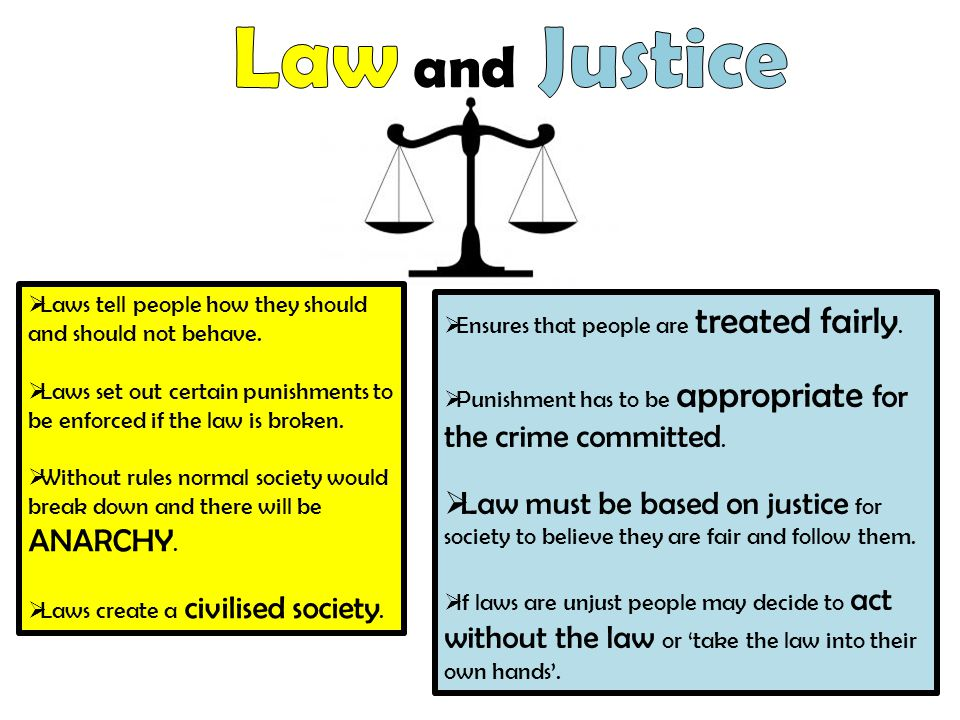  Laws tell people how they should and should not behave.  Laws set out certain punishments to be enforced if the law is broken.  Without rules norm