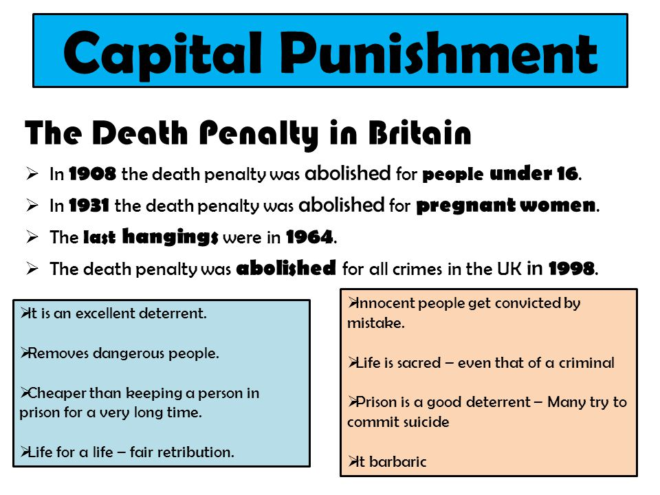 Capital Punishment The Death Penalty in Britain  In 1908 the death penalty was abolished for people under 16.  In 1931 the death penalty was abolish