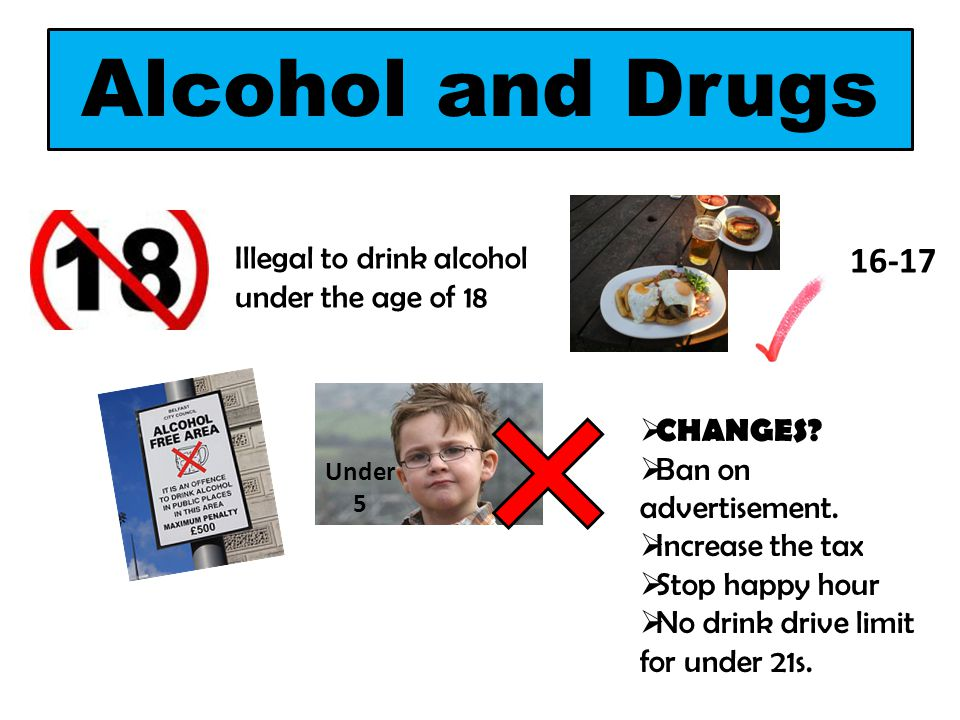 Alcohol and Drugs Illegal to drink alcohol under the age of 18 16-17 Under 5  CHANGES?  Ban on advertisement.  Increase the tax  Stop happy hour 