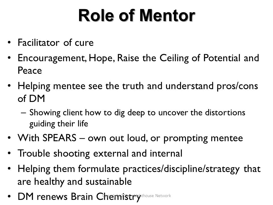 Role of Mentor Facilitator of cure Encouragement, Hope, Raise the Ceiling of Potential and Peace Helping mentee see the truth and understand pros/cons of DM – Showing client how to dig deep to uncover the distortions guiding their life With SPEARS – own out loud, or prompting mentee Trouble shooting external and internal Helping them formulate practices/discipline/strategy that are healthy and sustainable DM renews Brain Chemistry Copyright 2014 - Lighthouse Network