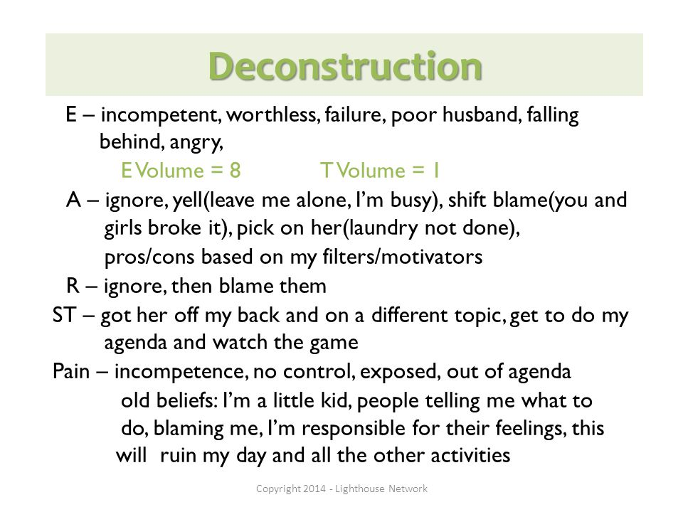 Deconstruction E – incompetent, worthless, failure, poor husband, falling behind, angry, E Volume = 8 T Volume = 1 A – ignore, yell(leave me alone, I'm busy), shift blame(you and girls broke it), pick on her(laundry not done), pros/cons based on my filters/motivators R – ignore, then blame them ST – got her off my back and on a different topic, get to do my agenda and watch the game Pain – incompetence, no control, exposed, out of agenda old beliefs: I'm a little kid, people telling me what to do, blaming me, I'm responsible for their feelings, this will ruin my day and all the other activities Copyright 2014 - Lighthouse Network