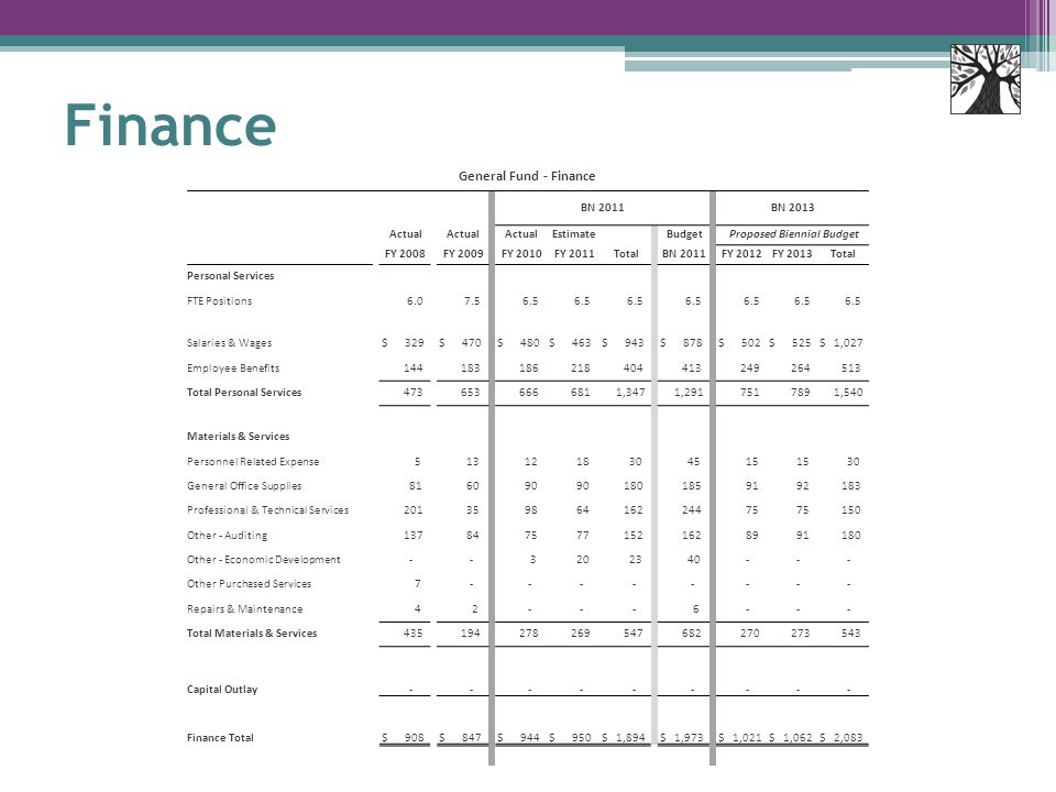 Finance General Fund - Finance BN 2011 BN 2013 Actual Estimate Budget Proposed Biennial Budget FY 2008 FY 2009 FY 2010 FY 2011 Total BN 2011 FY 2012 FY 2013 Total Personal Services FTE Positions 6.0 7.5 6.5 Salaries & Wages $ 329 $ 470 $ 480 $ 463 $ 943 $ 878 $ 502 $ 525 $ 1,027 Employee Benefits 144 183 186 218 404 413 249 264 513 Total Personal Services 473 653 666 681 1,347 1,291 751 789 1,540 Materials & Services Personnel Related Expense 5 13 12 18 30 45 15 30 General Office Supplies 81 60 90 180 185 91 92 183 Professional & Technical Services 201 35 98 64 162 244 75 150 Other - Auditing 137 84 75 77 152 162 89 91 180 Other - Economic Development - - 3 20 23 40 - - - Other Purchased Services 7 - - - - - - - - Repairs & Maintenance 4 2 - - - 6 - - - Total Materials & Services 435 194 278 269 547 682 270 273 543 Capital Outlay - - - - - - - - - Finance Total $ 908 $ 847 $ 944 $ 950 $ 1,894 $ 1,973 $ 1,021 $ 1,062 $ 2,083