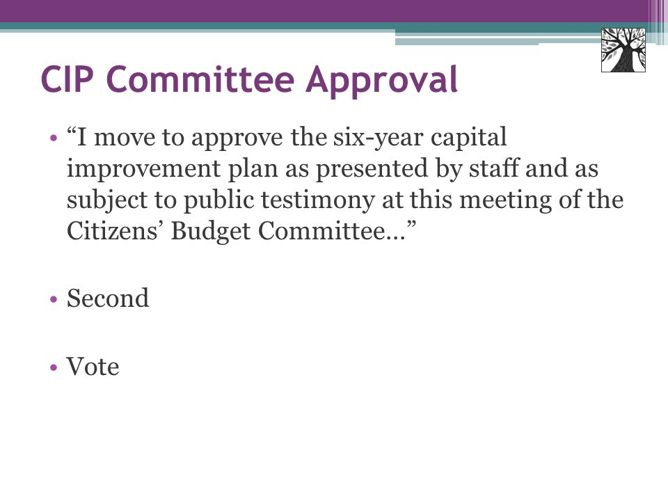 CIP Committee Approval I move to approve the six-year capital improvement plan as presented by staff and as subject to public testimony at this meeting of the Citizens' Budget Committee… Second Vote