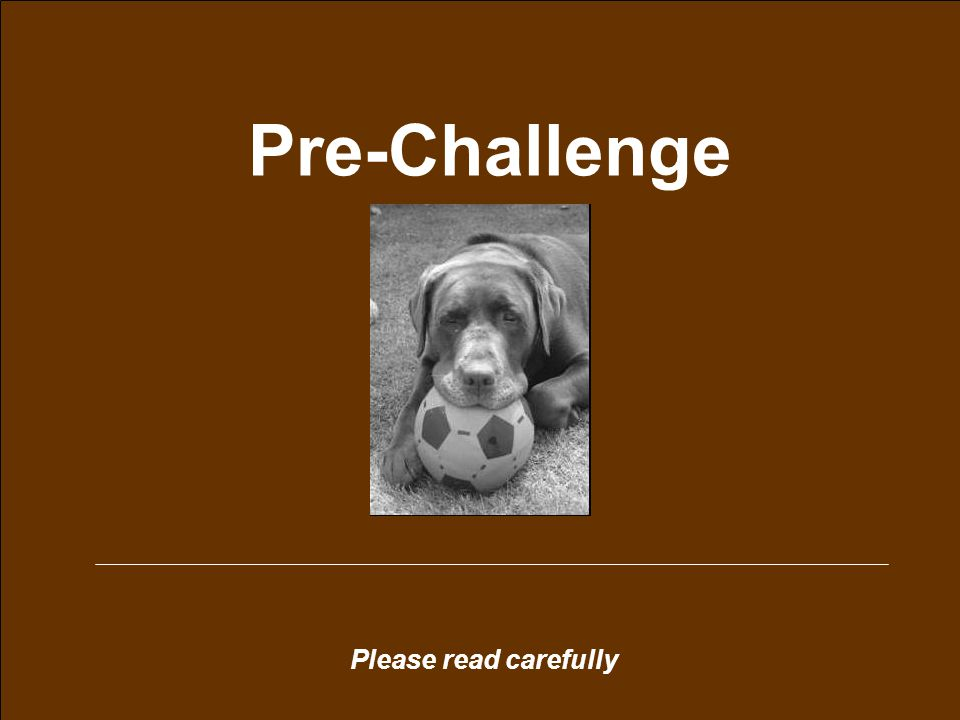 Please read carefully Pre-Challenge