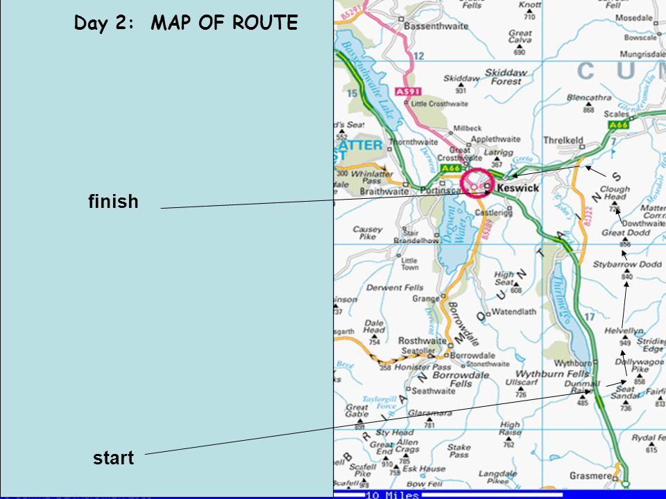 Day 2: MAP OF ROUTE start finish