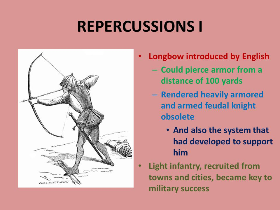REPERCUSSIONS I Longbow introduced by English – Could pierce armor from a distance of 100 yards – Rendered heavily armored and armed feudal knight obsolete And also the system that had developed to support him Light infantry, recruited from towns and cities, became key to military success