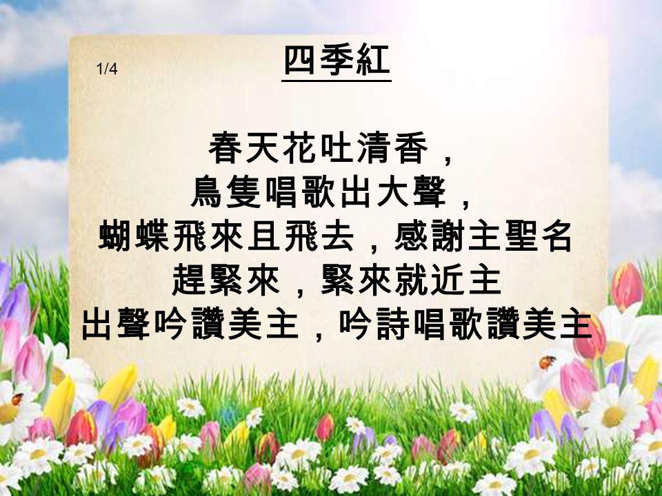 四季紅 春天花吐清香, 鳥隻唱歌出大聲, 蝴蝶飛來且飛去,感謝主聖名 趕緊來,緊來就近主 出聲吟讚美主,吟詩唱歌讚美主 1/4