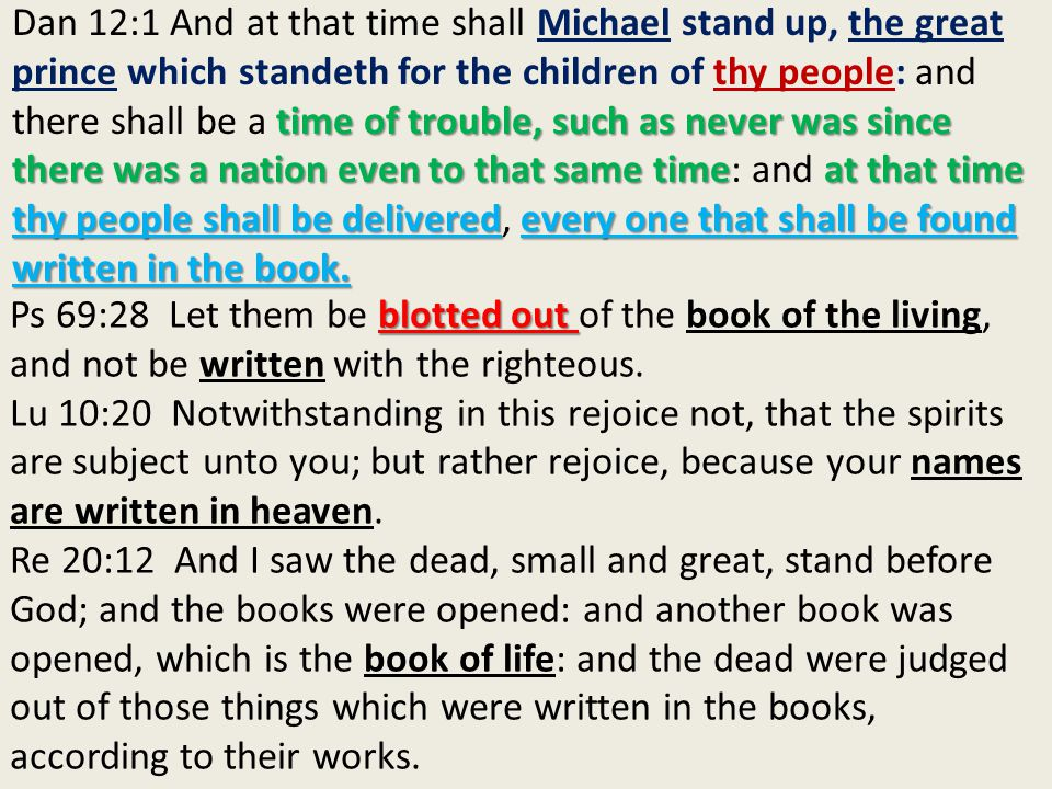 blotted out Ps 69:28 Let them be blotted out of the book of the living, and not be written with the righteous.