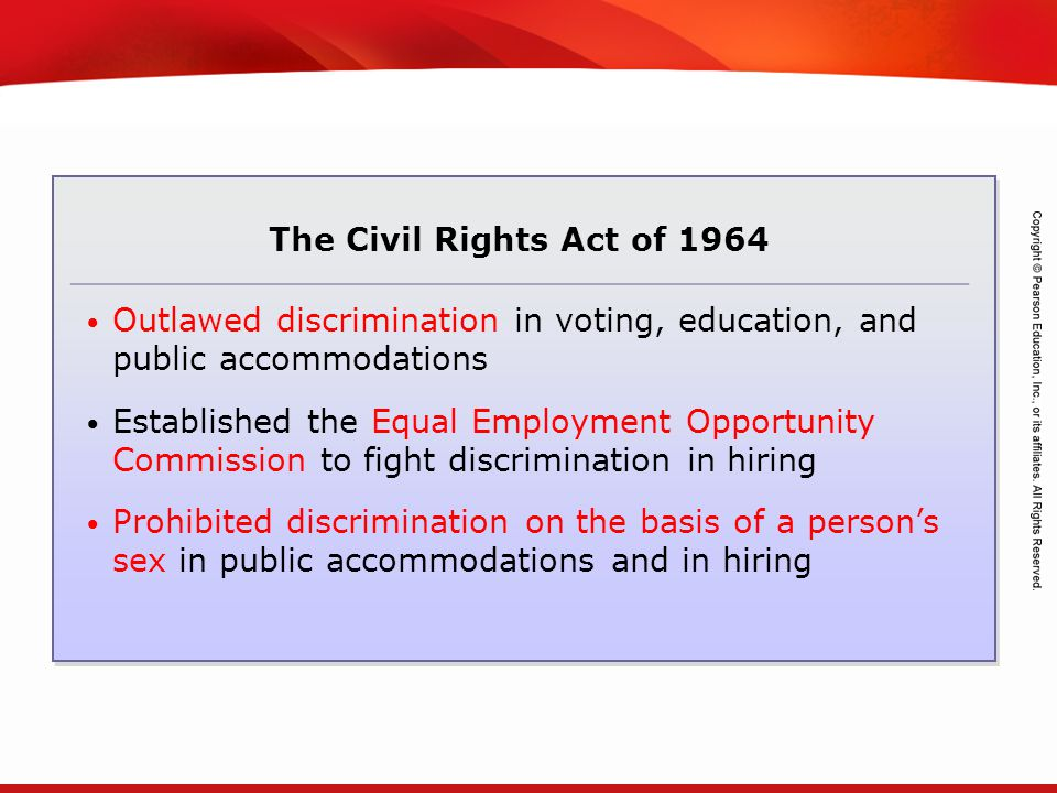 TEKS 8C: Calculate percent composition and empirical and molecular formulas. The Civil Rights Act of 1964 Outlawed discrimination in voting, education